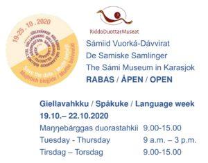 Åpningstider for De Samiske Samlinger under språkuke 2020